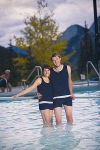 Miette Hot Springs Couple in Historic Swim Suits Photo by Lee Simmon, Parks Canada