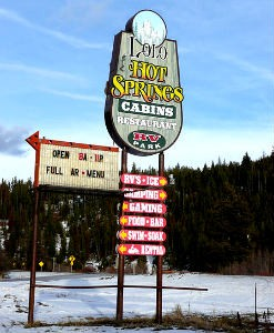 The sign that announces you have made it to Lola Hot Springs Resort. Photo by Djembays